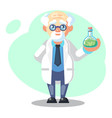 old scientist with flask potion mixture funny vector image