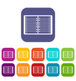 open spiral lined notebook icons set flat vector image vector image