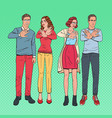 pop art group of people gesturing stop hand sign vector image vector image