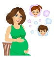 pregnant woman dreaming about her future babies vector image