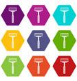 razor icon set color hexahedron vector image vector image
