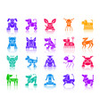 robot dog color silhouette icons set vector image vector image