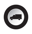 round black white button icon - van car vector image