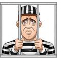 Sad Prisoner Behind Bars vector image