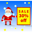 santa claus with the announcement of sale vector image