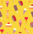 seamless pattern ice cream and cakes on yellow vector image