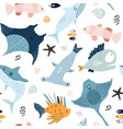 seamless pattern with creative and colorful fishes vector image vector image
