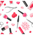 seamless pattern with manicure tools vector image