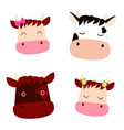 set with cute heads cows with flowers bow and vector image