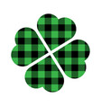 shamrock four leaf clover icon green and black vector image vector image