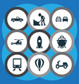 shipment icons set with moped cargo ship pickup vector image vector image