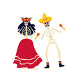 skeletons in costumes for dia de los muertos flat vector image