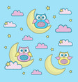 sky-blue owl cartoon color vector image