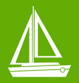 small boat icon green vector image vector image