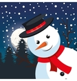 snowman big greeting christmas with pine snowfall vector image