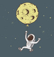 sweet astronaut keeps for moon vector image vector image