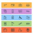 traveling icons set with credit card phone time vector image