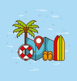 tropical beach and related icons image vector image