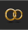 two gold wedding rings 3d in shape vector image vector image