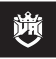 vr logo monogram isolated with shield and crown vector image vector image