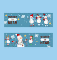 winter holidays snowman set banners vector image vector image