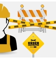 worker tape under construction sing vector image vector image