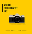 world photography day with mirrorless camera vector image vector image