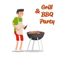 Man of cooking meat with a grill Barbecue party vector image