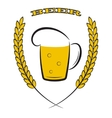 Mug beer with yellow ears of wheat on white vector image