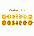 3d gold isolated coins set different positions vector image