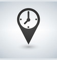 an isolated map mark with a clock icon vector image vector image