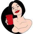 beautifull woman drinking wine vector image vector image