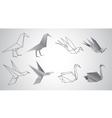 birds origami set vector image