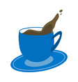 blue cup of coffee on white background vector image