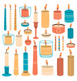 burning candles wax aromatic candles in vector image vector image