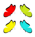 butterfly icon set cute cartoon kawaii funny vector image