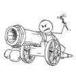 cartoon man targeting with antique cannon vector image