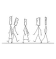 cartoon people walking on street vector image vector image