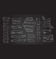 chalk line hand drawn banners and ribbons set vector image vector image
