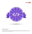 code icon - purple ribbon banner vector image