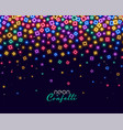 colorful confetti in neon shiny lights background vector image vector image