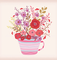 Creative with teacup full of watercolor flowers vector image vector image
