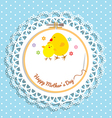 Cute chick and chicken on embroidery hoop for vector image vector image