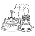 cute tiger with cake and balloons helium in vector image vector image