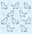 cute unicorns pattern background vector image vector image
