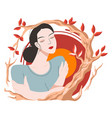female character portrait and autumn branch vector image vector image