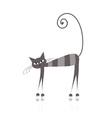 grey striped cat vector image vector image