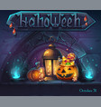 halloween background - cartoon stylized vector image