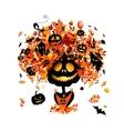 Halloween holiday design pumpkin head vector image vector image