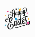 happy easter vintage sign with eggs on white vector image vector image